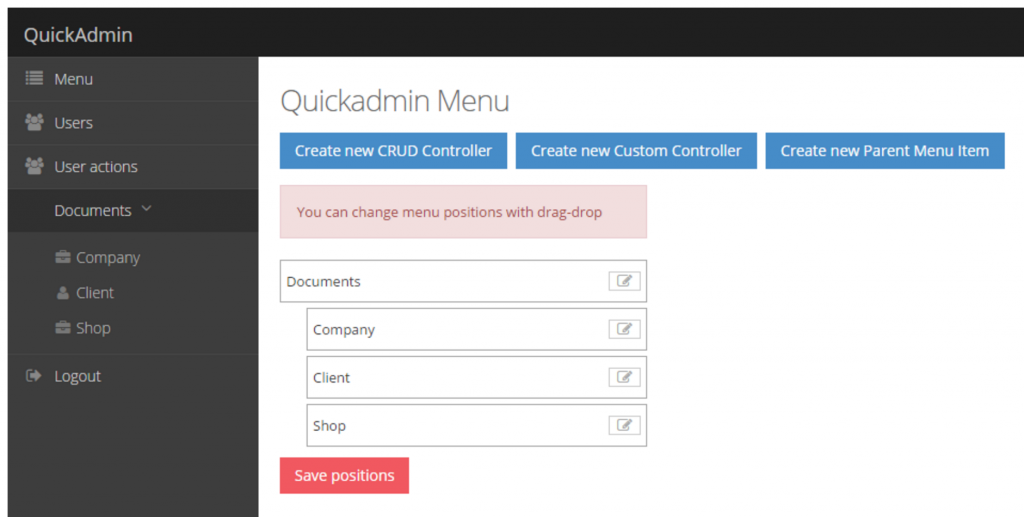 Laravel Daily Quickadmin