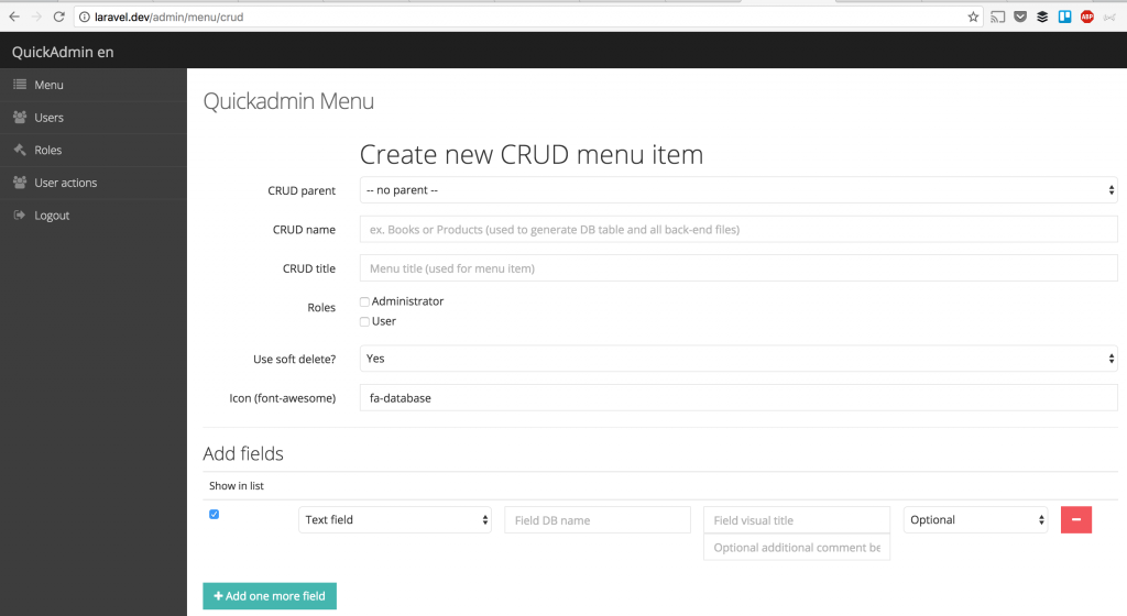 QuickAdmin package: new version 2 0 for Laravel 5 3