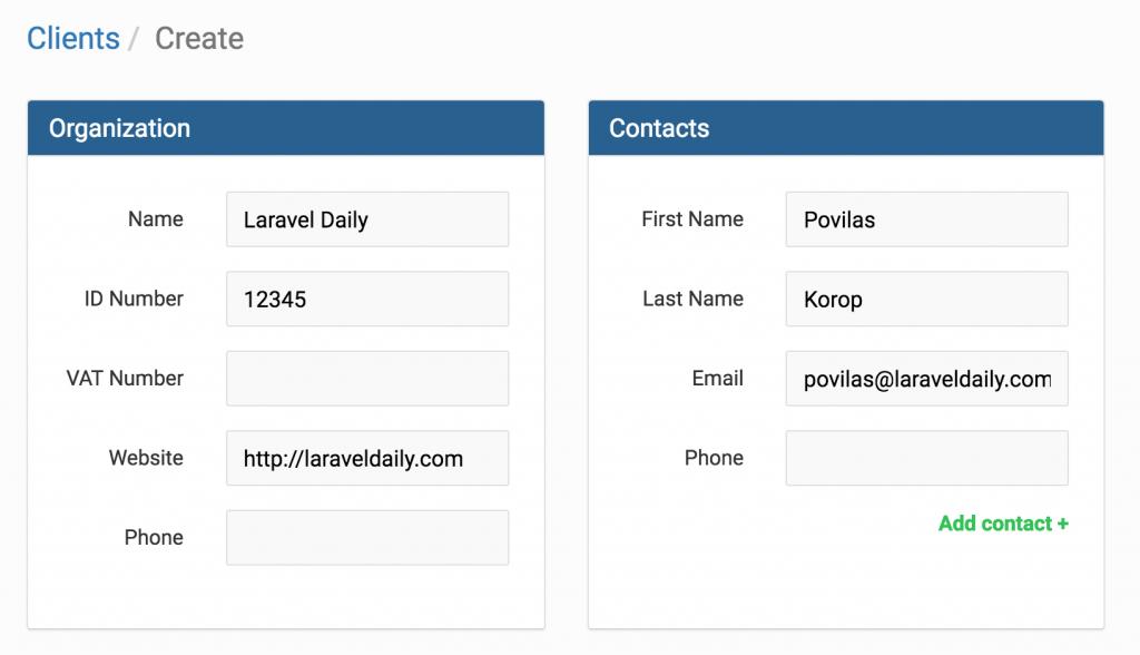 invoice ninja create new client