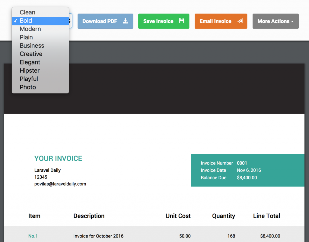 invoice ninja choose theme
