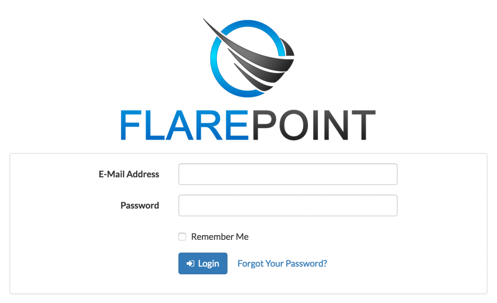 flarepoint crm login screen