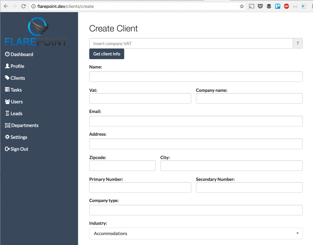 flarepoint crm create client