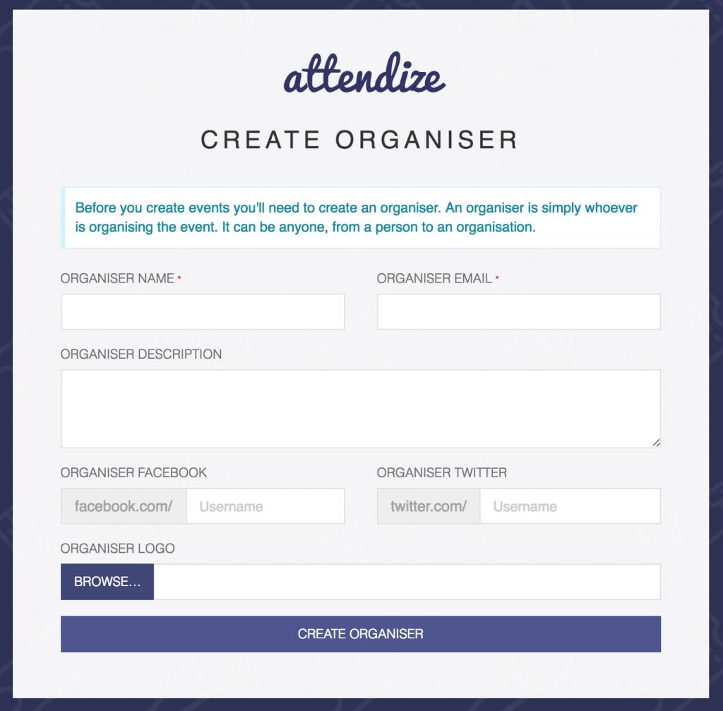 attendize create organiser