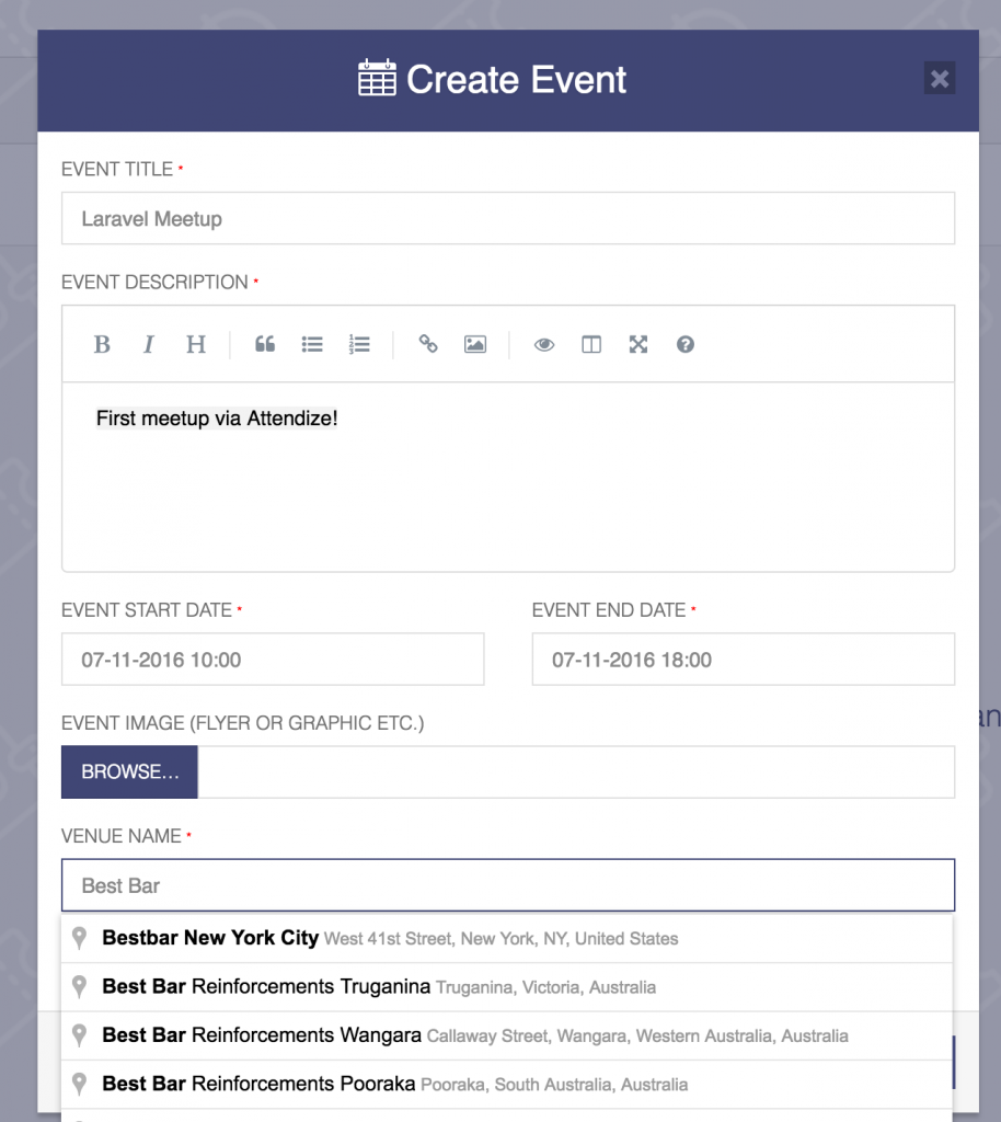 attendize create event