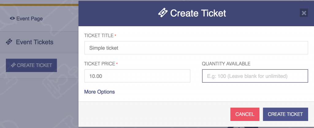 attendize create ticket
