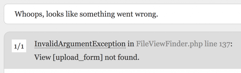 laravel file upload view error