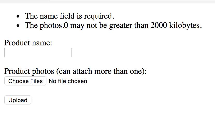 laravel multiple file upload validation errors