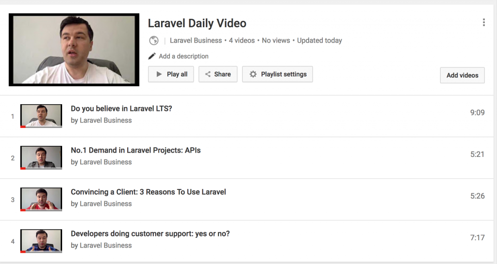laravel daily video channel playlist