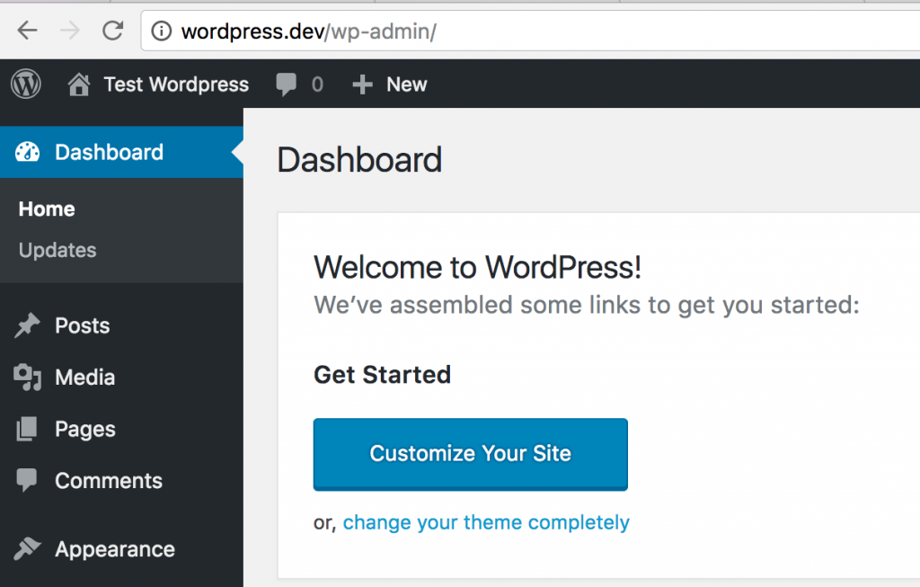 wordpress local dashboard laravel