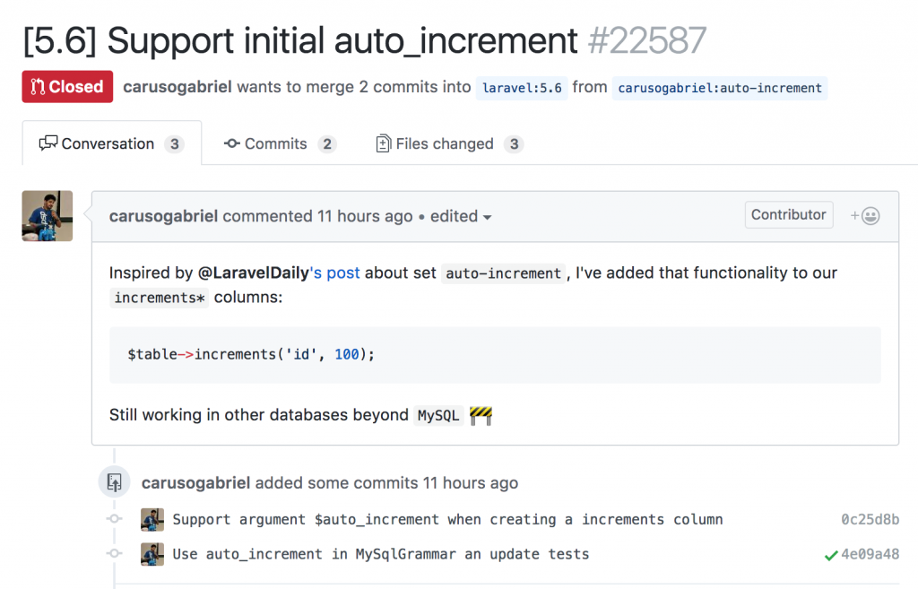 laravel auto_increment start pull request