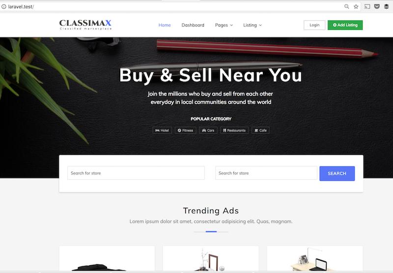 laravel classimax homepage