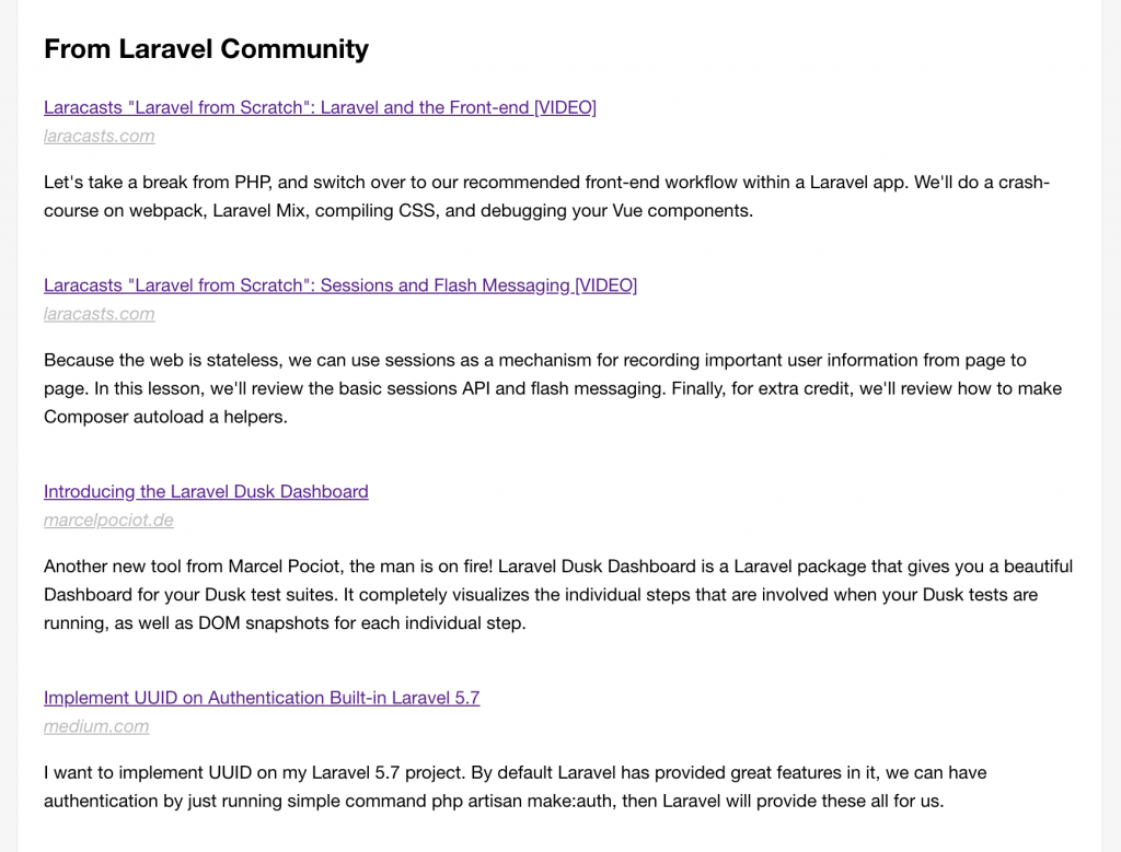 Laravel newsletter
