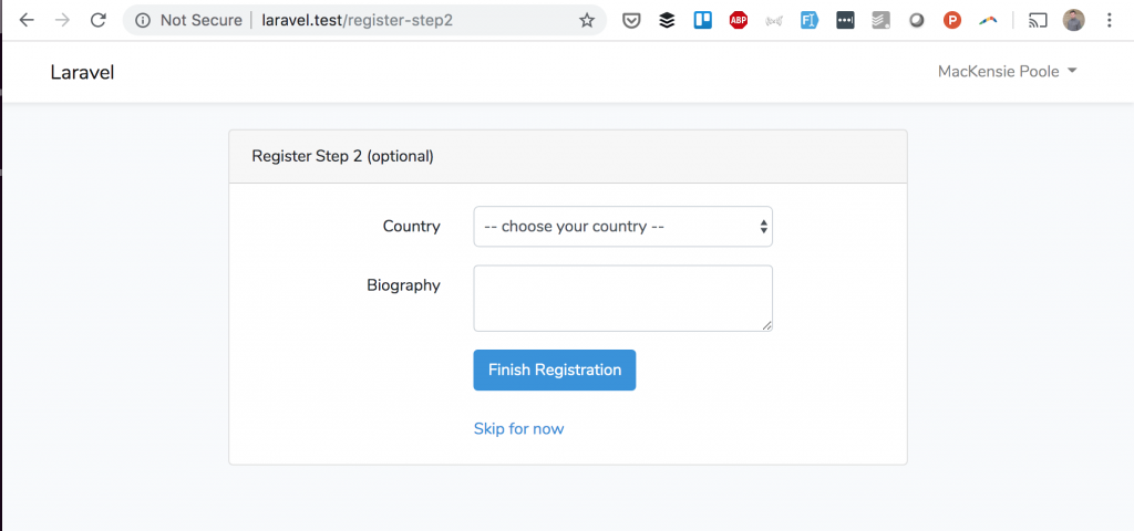 Laravel Two-Step Registration: Optional Fields for Country